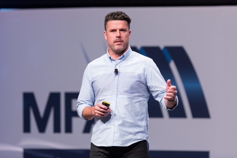Adam Garone May 7, 2015 - Keynote Adam Garone:  MFAA National Convention 2015, Melbourne Convention and Exhibition Centre, Melbourne, Victoria, Australia. Credit: Pat Brunet / Event Photos Australia