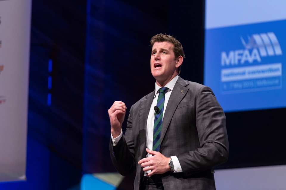 Ben Roberts-Smith May 6, 2015 - Keynote Ben Roberts-Smith:  MFAA National Convention 2015, Melbourne Convention and Exhibition Centre, Melbourne, Victoria, Australia. Credit: Pat Brunet / Event Photos Australia